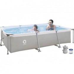 Piscina Smontabile con Filtro 1136 L. Jilong 17771EU Steel Super Rectangular Pool 300x207x65 cm.